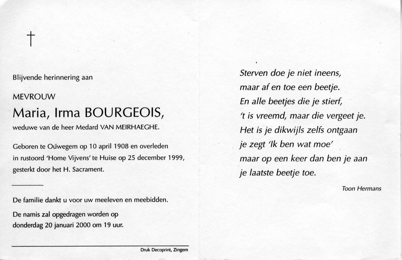 Familie Van Meirhaeghe Bourgeois Maria Irma